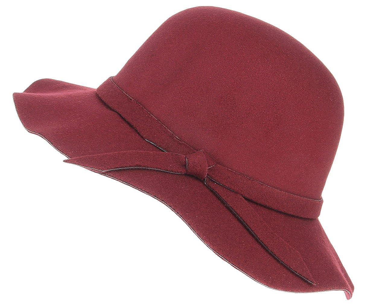 La Vogue Girls Kids Retro Wool Wide Beach Brim Soft Felt Floppy Hat Cap Wine Red