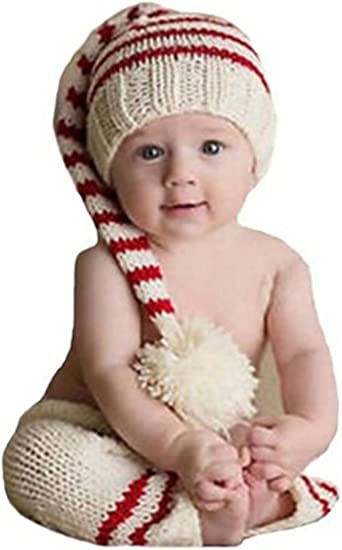 Ufraky Newborn Baby Hat Photography Photo Props Handmade Knitting Long Tail Hats Cap