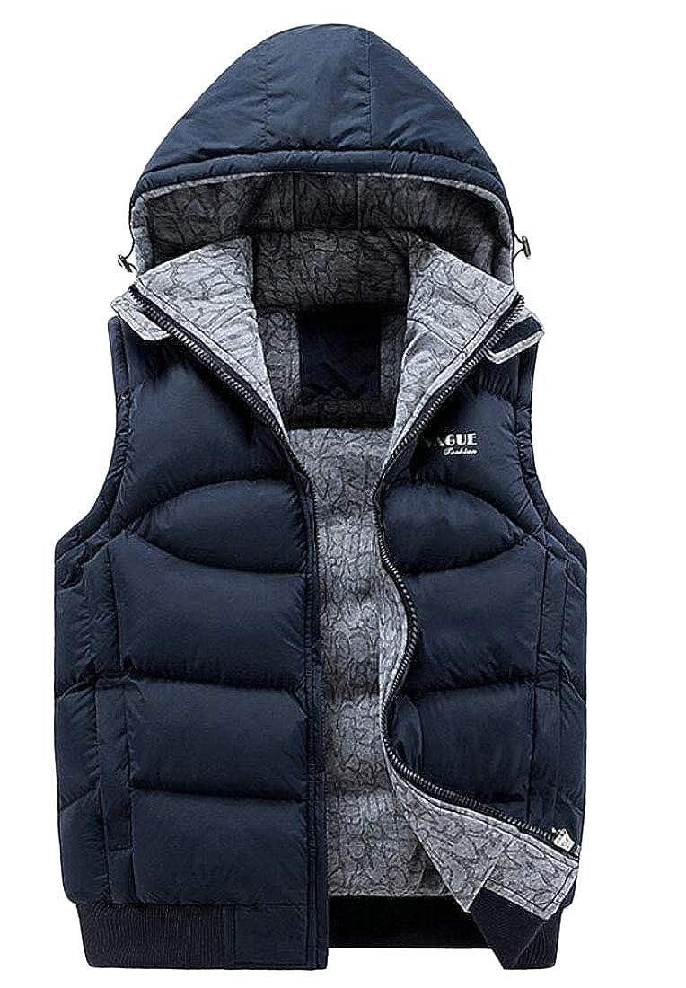 GenericMen Winter Puffer Vest Removable Hooded Down Vest Sleeveless Jacket