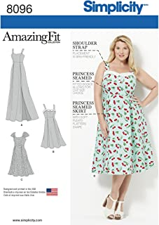 product image for Simplicity 8096 Women's Plus Size Dress Sewing Pattern, Sizes 18W-24W