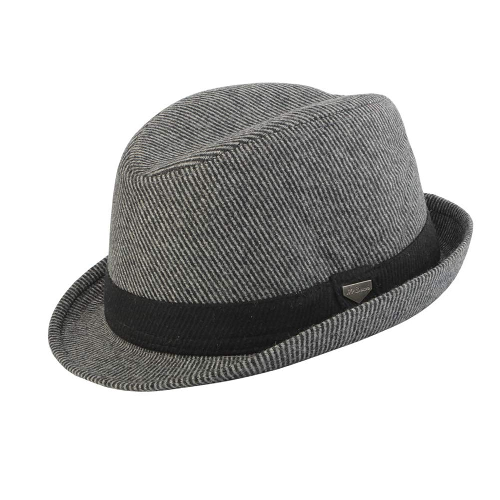 Vim Tree Mens Short Brim Wool Fedora Hat Crushable Trilby Hat with Band