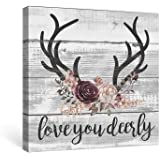 SUMGAR Farmhouse Wall Art Bedroom Rustic Decor Pink Flower Pictures Bathroom Boho Grey Canvas Paintings Gray Deer Quotes Prints Black Antler Artwork Small Panel Dorm, 12x12 inch