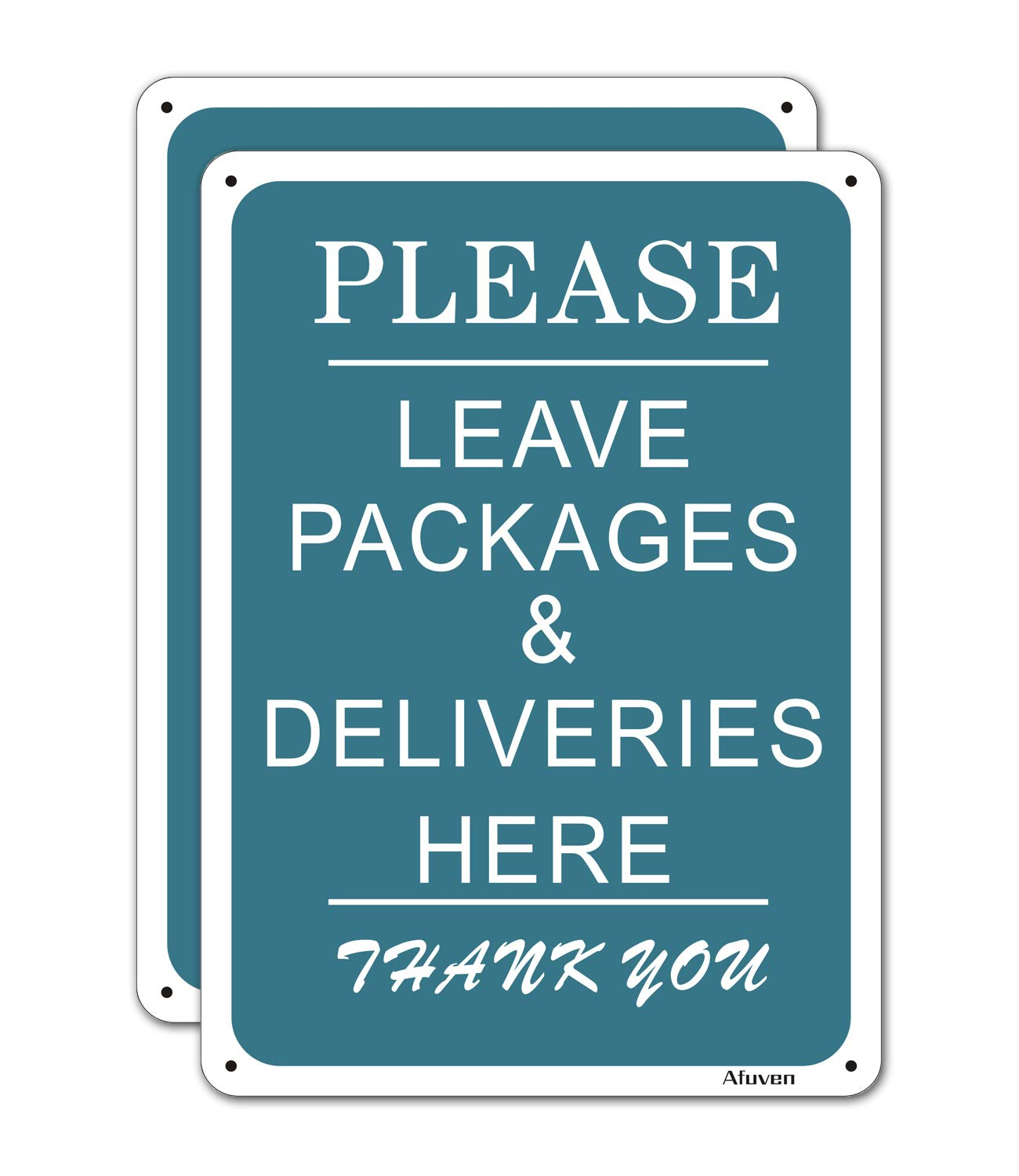 """2 Pack Please Leave Deliveries and Packages Here Signs, Metal Reflective 10"""" x 7"""" Rust Free Aluminum, Easy Mounting Indoor or Outdoor Use, Waterproof and Durable Ink"""