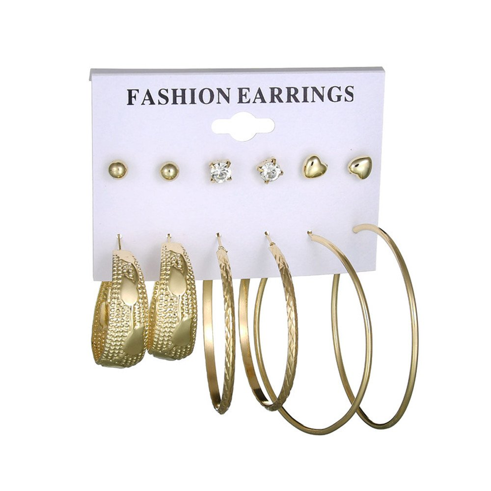 FEDULK 6 Sets Womens Earrings Ear Ring Set Combination Large Circle Earrings Gift for Her (Gold, One Size)
