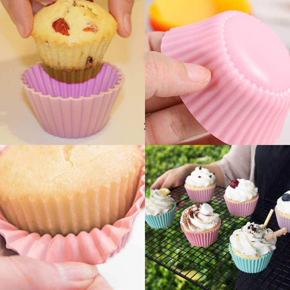 HEHALL 40pcs Silicone Muffin Molds Cupcake Baking Cups Pans Liners, 8 Colors by HEHALI (Image #5)