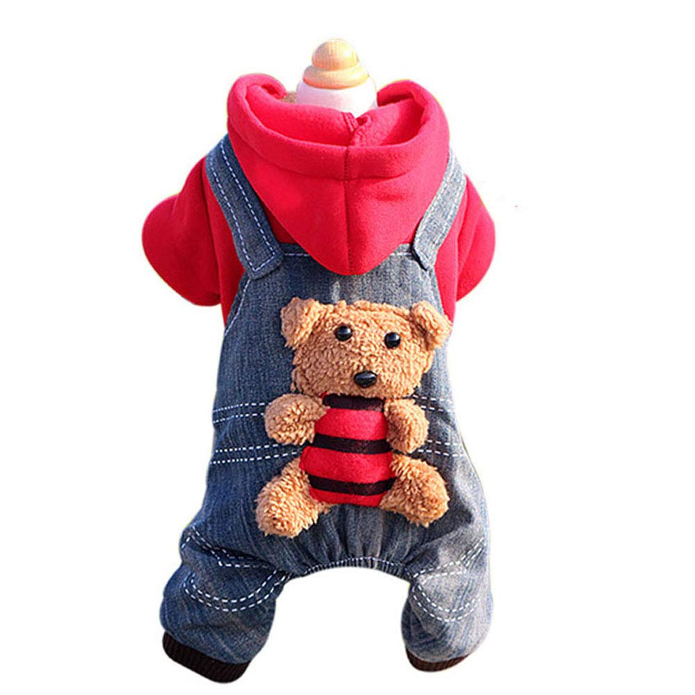 Red X-Small Red X-Small Pet Supplies Dog Clothes Autumn and Winter Clothes Puppy Clothes Teddy Bear VIP pet Four-Legged Clothes Than Bear pet Clothes,Red,XS