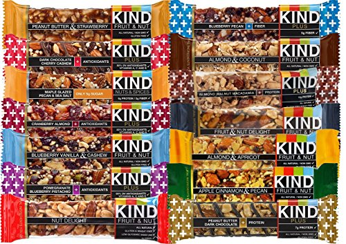 KIND Healthy Fruit & Nut & Plus Snacks Bars, (Count 14) Variety Pack of 14 Flavors with Almond, Blueberry, Peanut Butter, Dark Chocolate and other