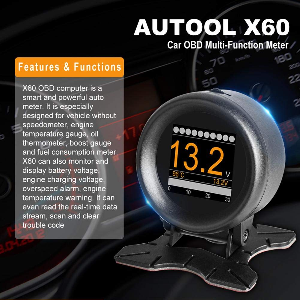 YouN AUTOOL X60 OBD Meter OBD2 HUD Digital Water Temp Gauge Voltage Speed Meter