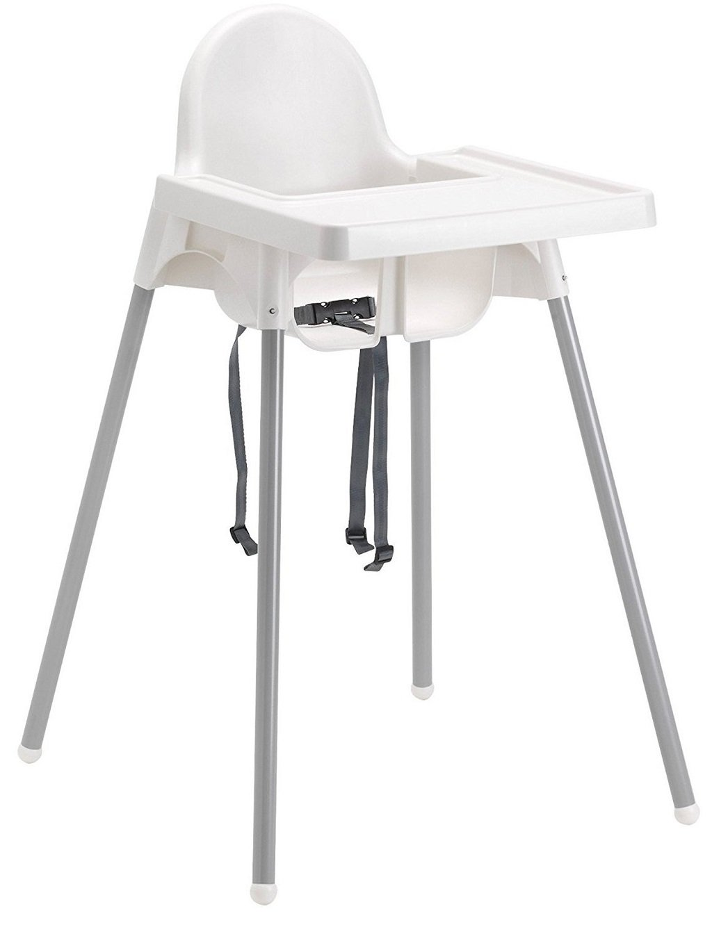 Ikea's ANTILOP Highchair with safety belt, white, silver color and ANTILOP Highchair white B00JBJFGAA