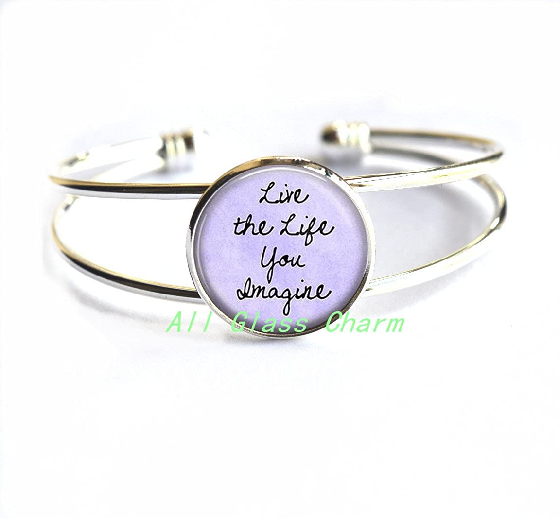 Go for it Encouragement,AS0246 Beautiful Bracelet,Inspirational Quote Jewelry Live the Life You Imagine Positive Message