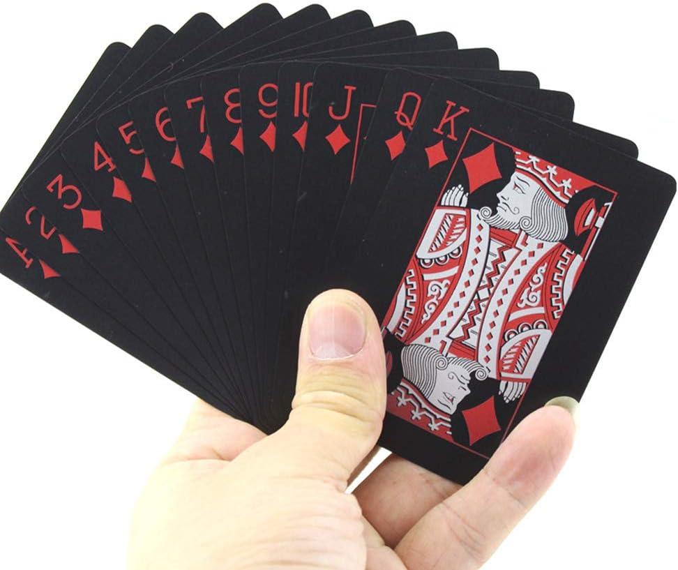 IWILCS Plastik wasserdichte Spielkarten Profi Premium Spielkarten Zaubertricks Werkzeug Profi Poker Karte Spielkarte Rot PVC Standard Poker Karten