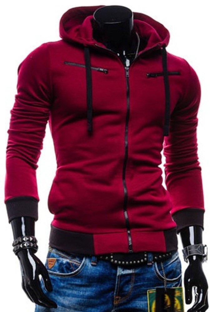 Sorrica Men's Color block Zipper Hoody Casual Coat Slim Fit Jacket (US Medium, Wine Red)