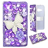 Evtech(tm) Butterfly Purple Rhinestone Bling Crystal Glitter Book Style Folio PU Leather Wallet Case with Handbag Phone Holder & Card Slots for LG G4 H815 H818