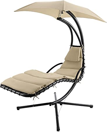 Fdw Hanging Chaise Lounger Chair Arc Stand Air Porch Swing Hammock Chair Canopy Talkingbread Co Il