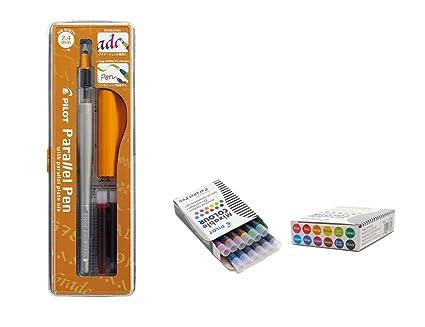 Pilot Parallel Pen Kugelschreiber, 2,4-mm-Schreibfeder, nachfüllbar, mit 12 verschiedenen Patronen