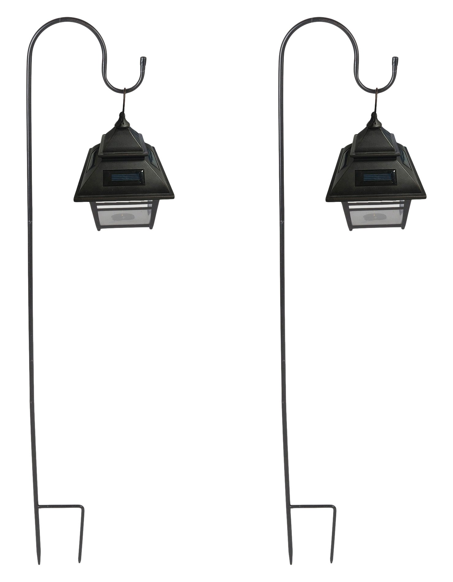 Set of 2 Small Hanging Solar Lanterns with Shepherd's Hooks
