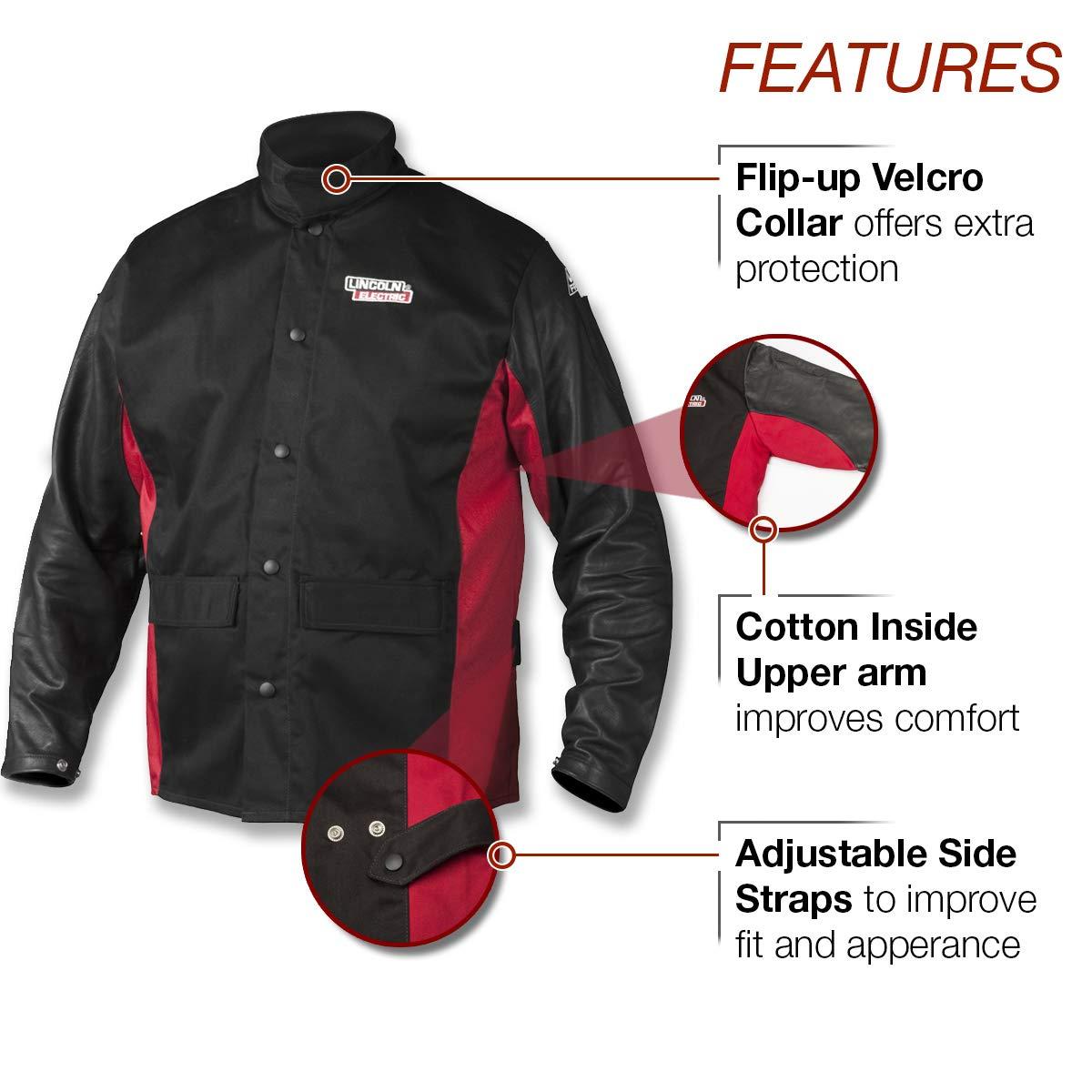 Lincoln Electric K2987-XL - Chaqueta de soldador de piel para grano de sombra (talla XL), color negro y rojo: Amazon.es: Amazon.es