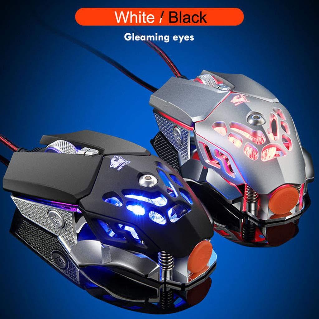 Noir Fulltime V9 2400DPI 6 Bouton Optique LED Lumi/ères Souris Gamer Pour PC Portable De Bureau jeu dordinateur USB Filaire Gaming Mouse