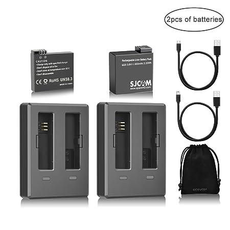 aceyoon Sjcam M20 [ Bateria + Baterías Cargador ] Doble Original 900mAh Recargable Camara Deportiva Accesorios con USB Cable & Bolsa de Terciopelo ...