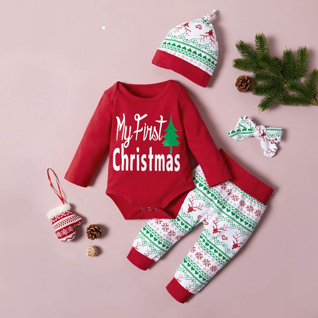 RQWEIN Baby Christmas Outfit Newborn Boys My First Christmas Deer/&Tree Print Top Long Pants+Hat 3Pcs Clothes Sets