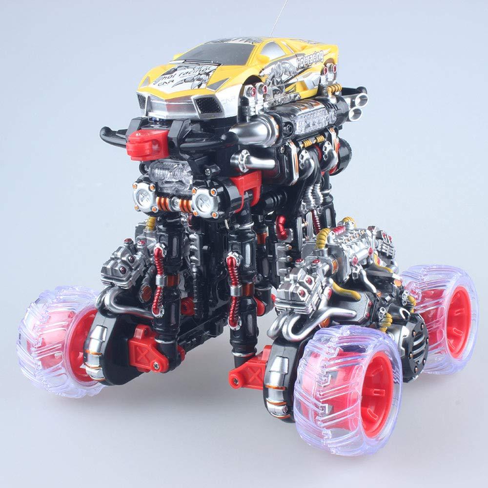Jaune 1 battery Tletiy Créative Grande Déformation Mini Stunt Truck Télécomhommede Véhicule De Recharge Radio Télécomhommede Monster Course électrique Flips Tricks Jouets Voiture pour Filles Garç