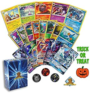 Pokemon Trick or Treat Card Lot - 10 Cards - 1 GX - 2 Rares - 1 Holo Rares - 6 Foils - 1 Pokemon Coin! Includes Golden Groundhog Box!