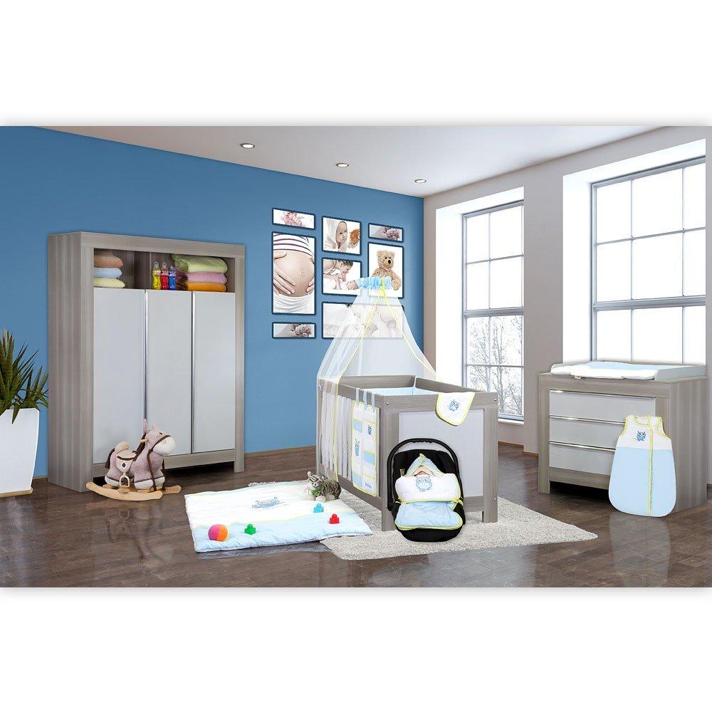 Babyzimmer Felix in akaziengrau 9 tlg. mit 3 türigem Kl. in die kleine Eule in Blau