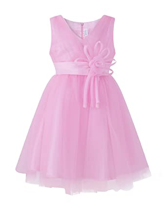 Kidsform Girls Dress Princess Wedding Birthday Party Chiffon Tulle Lace Bow Skirts Christening Gown Pink 2