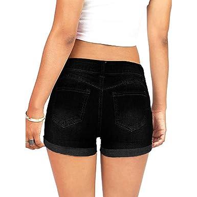 HCFKJ Vaqueros Mujer Push Up Pantalones Cortos De Mezclilla ...