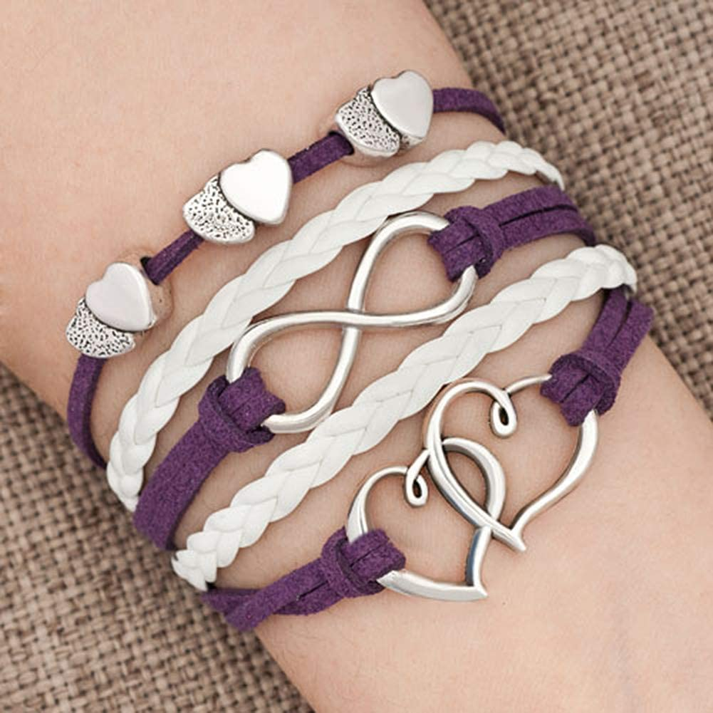 Charmed Craft Infinity Love Double Heart Charm Bracelet Leather Wrap Rope Braided Bracelets Handmade
