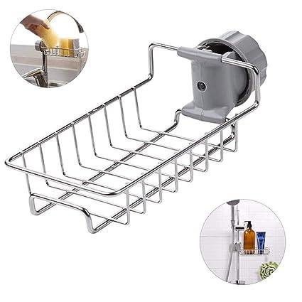 Stainless Steel Sink Faucet Sponge Holder - Adjustable Sink Storage  Rack,Kitchen Sink Organizer Drainer Caddy for Dishwashing Bathroom Kitchen  ...