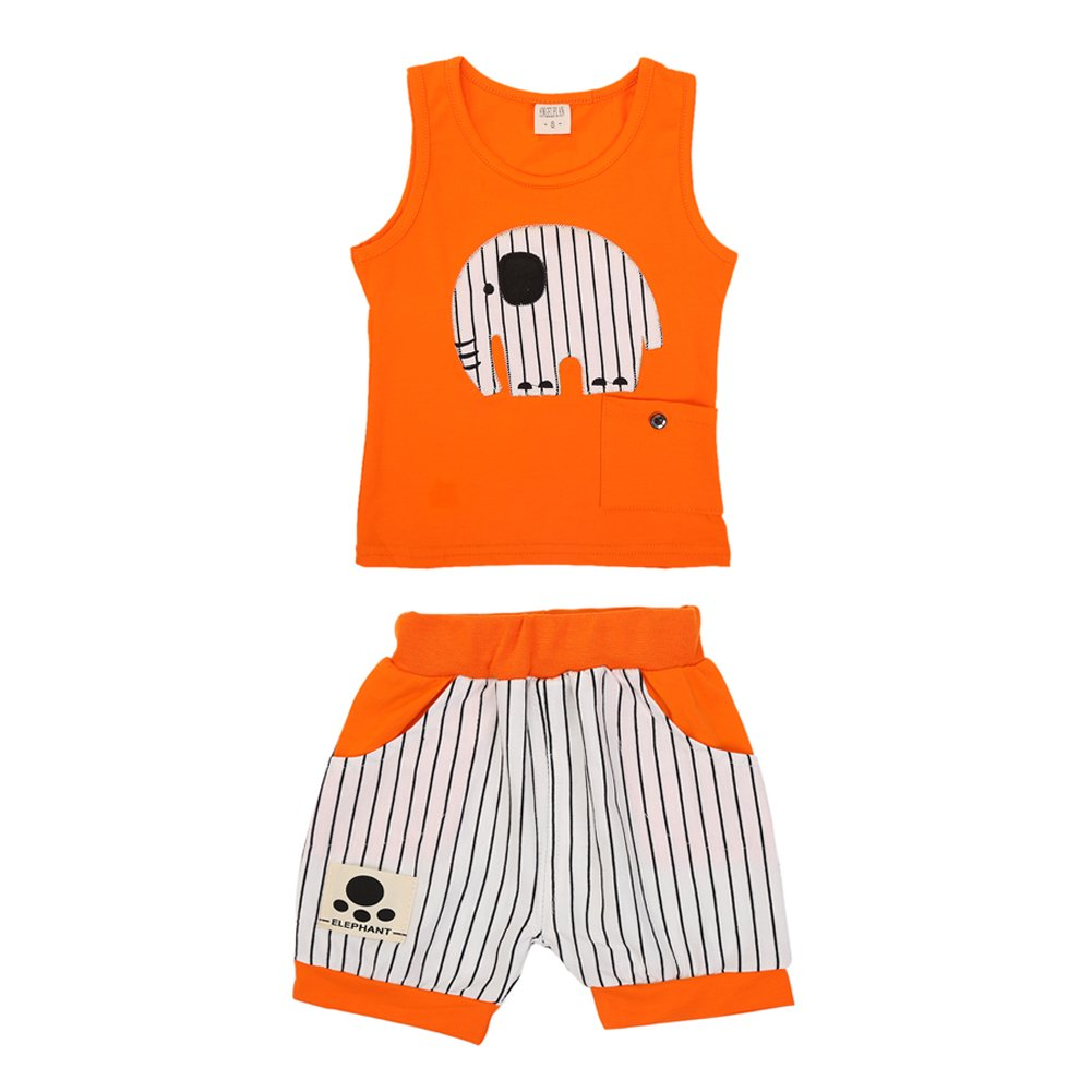 BOBORA Toddler Baby Boy Summer Clothing Set Sleeveless Top + Short Pants Clothes Outfits Set BON-N-1401