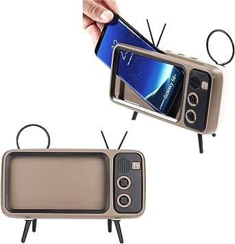 Altavoz inalámbrico Bluetooth Retro TV V4.2, Mini Altavoz portátil Bluetooth Diseño de TV Soporte para teléfono móvil Radio FM, Sonido estéreo 3D, Ranura para Tarjeta TF (marrón): Amazon.es: Electrónica