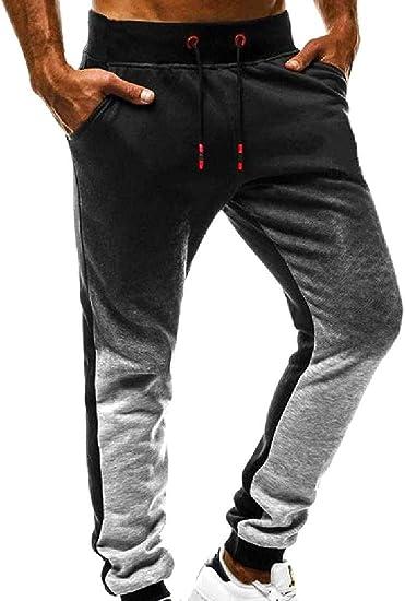 Qiangjinjiu メンズグラデーションカラーリラックスフィットジョガーパンツ(ストリング付き) Dark Grey US X-L=China 2XL