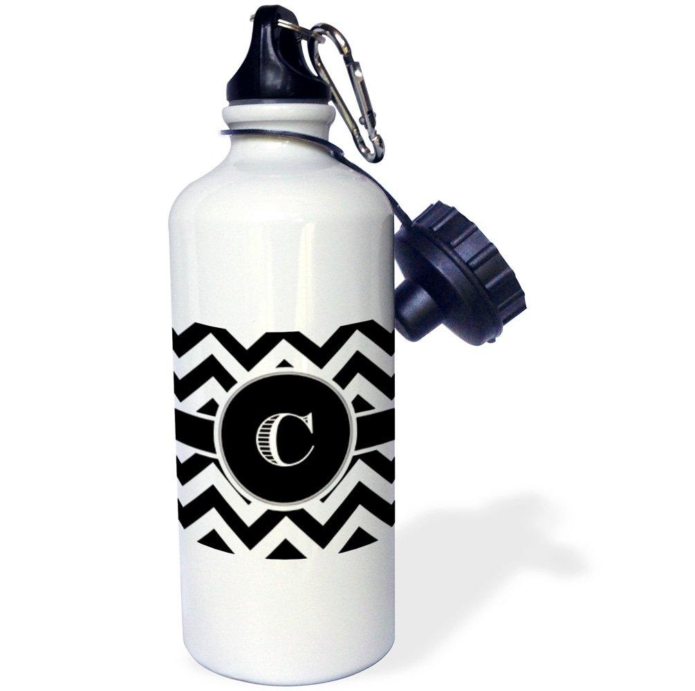 White 21 oz 3dRose wb/_222068/_1Black and white chevron monogram initial F Sports Water Bottle