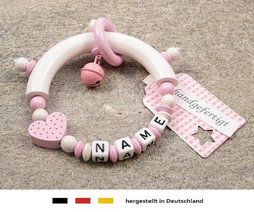 Baby Greifling Beißring halbrund mit Namen | individuelles Holz Lernspielzeug als Geschenk zur Geburt & Taufe | Mädchen Motiv Herz in rosa