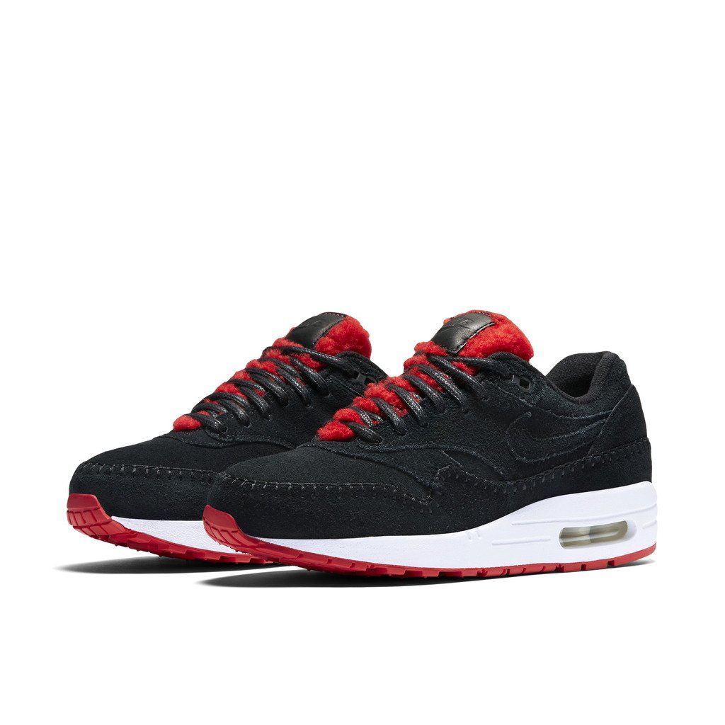 NIKE AIR Max 1 PRM Womens Fashion Sneakers 454746 010_10 BlackBlack Action RED Summit White
