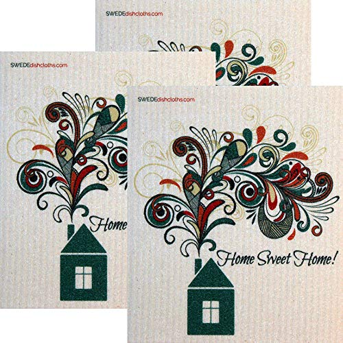 - Home Sweet Home Set of 3 Each Swedish Dishcloths | ECO Friendly Absorbent Cleaning Cloth | Reusable Cleaning Wipes
