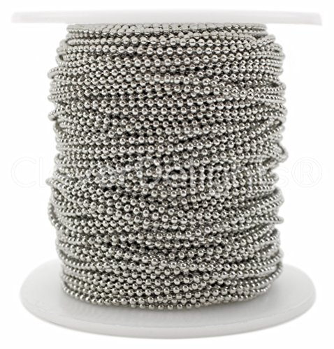 (CleverDelights Ball Chain Spool - 30 Feet - 1.5mm Ball - Platinum (Antique Silver) Color - 10 Yards)