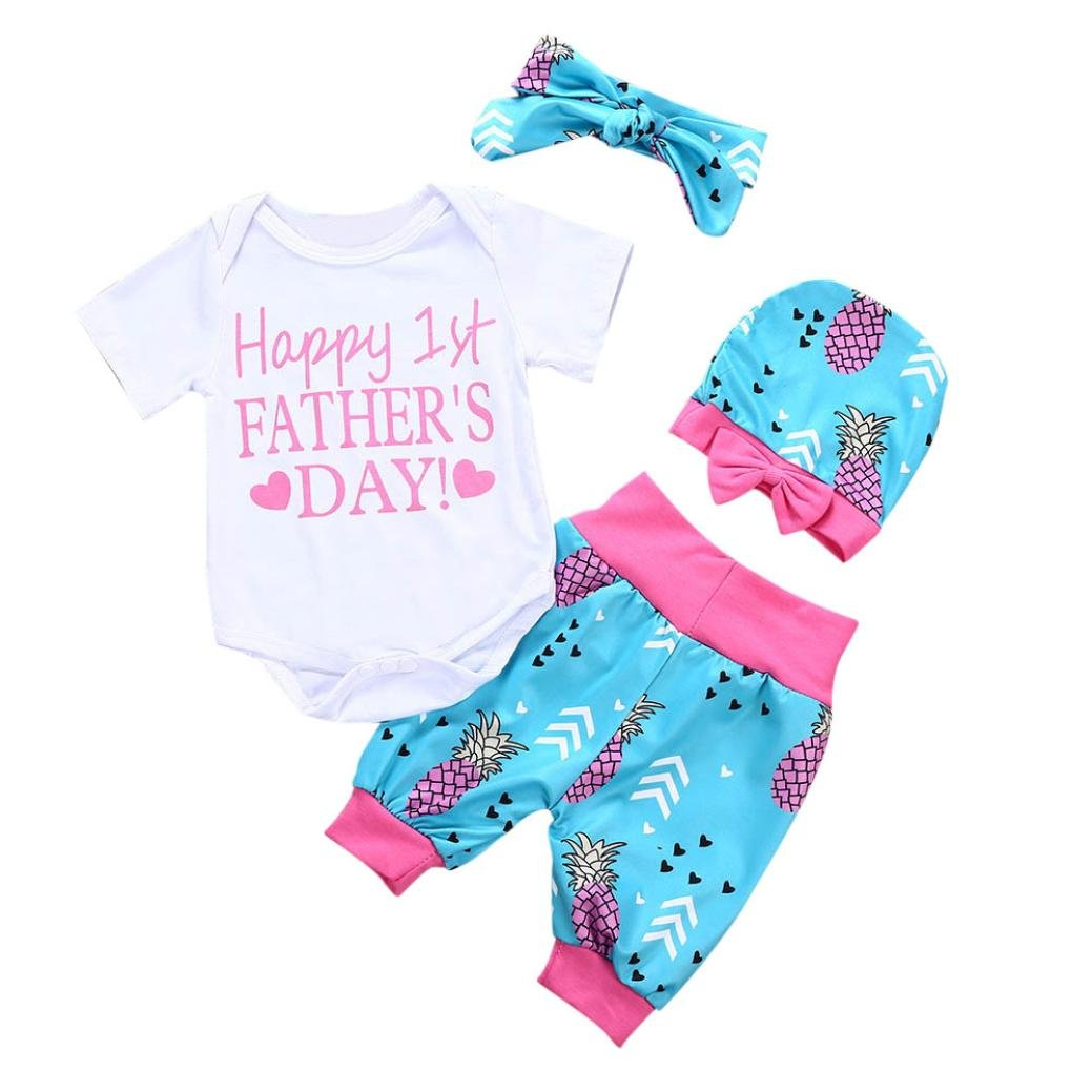 Shorts Kehen Newborn Infant Baby Girl 4pc Summer Clothes Happy First Fathers Day Romper Headband Hat Outfit