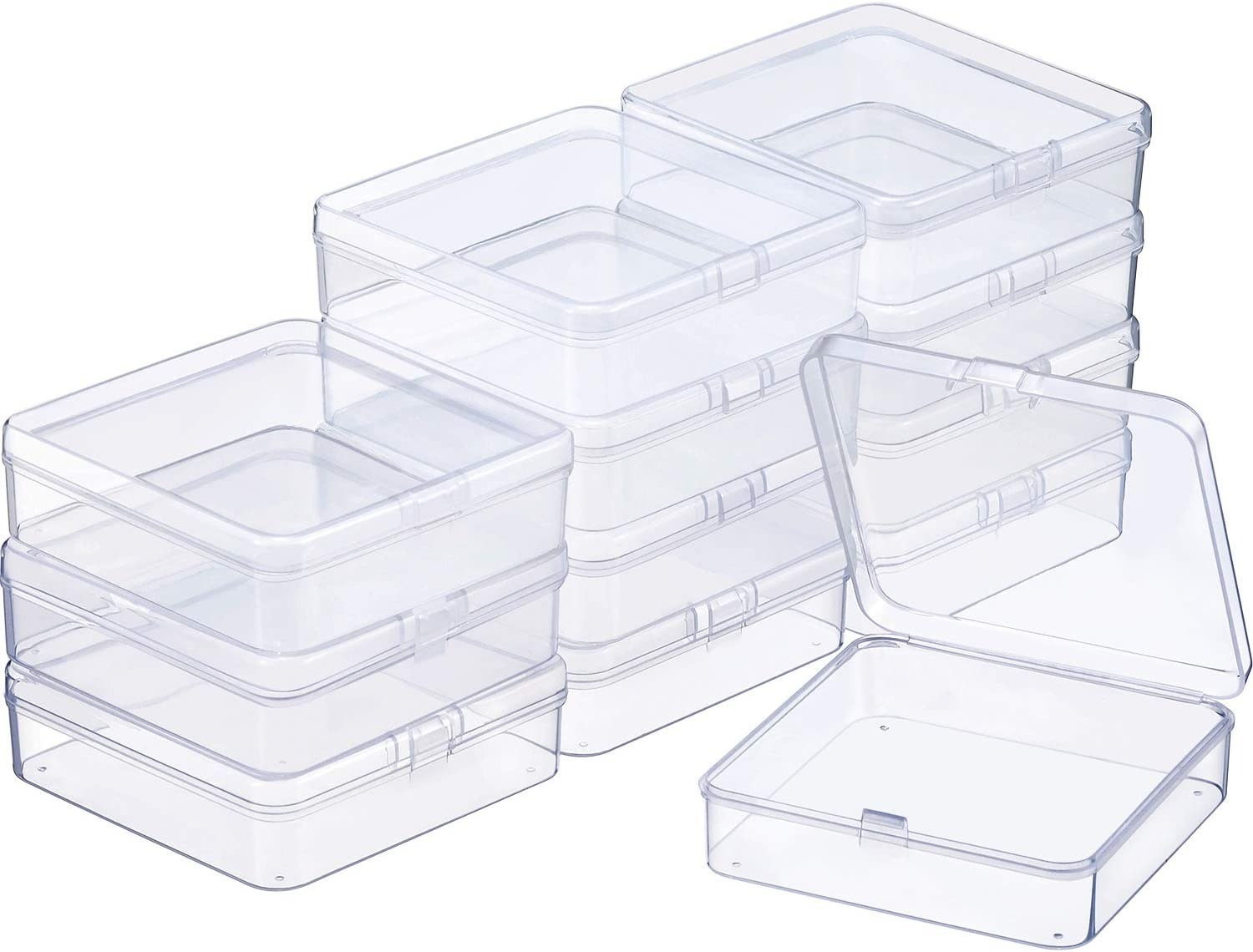 24 Packs Small Clear Plastic Beads Storage Containers Box with Hinged Lid for Storage of Small Items Hardware Jewelry 2.12 x 2.12 x 0.79 Inches Crafts