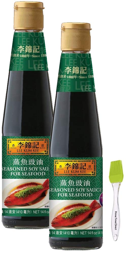 Lee Kum Kee Seasoned Soy Sauce for Seafood 14 oz (2 pack) Bundle with PrimeTime Direct Silicone Basting Brush in a PTD Sealed Bag
