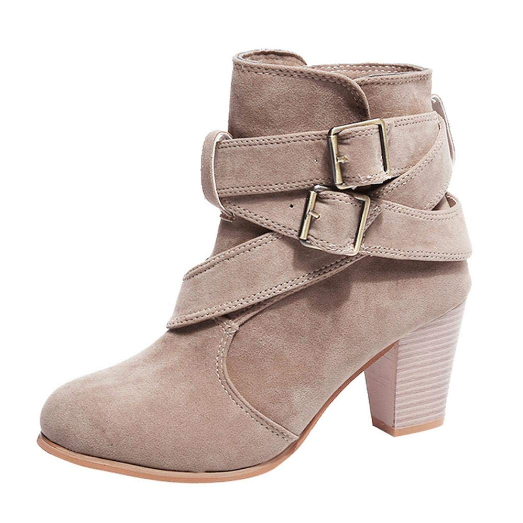 DAYSEVENTH Clearance Ladies Casual Flock Buckle Strap Shoes Martain Boots Suede Ankle Boots High Cone Heeled Boot 442365