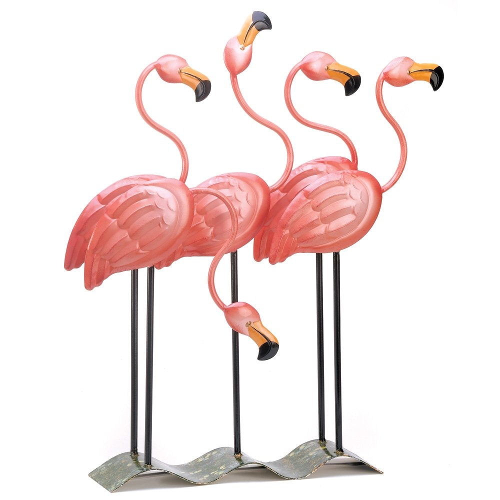 Amazon.com : Gifts U0026 Decor Tropical Flamingo Flock Iron Garden Decor Figure  : Outdoor Statues : Garden U0026 Outdoor