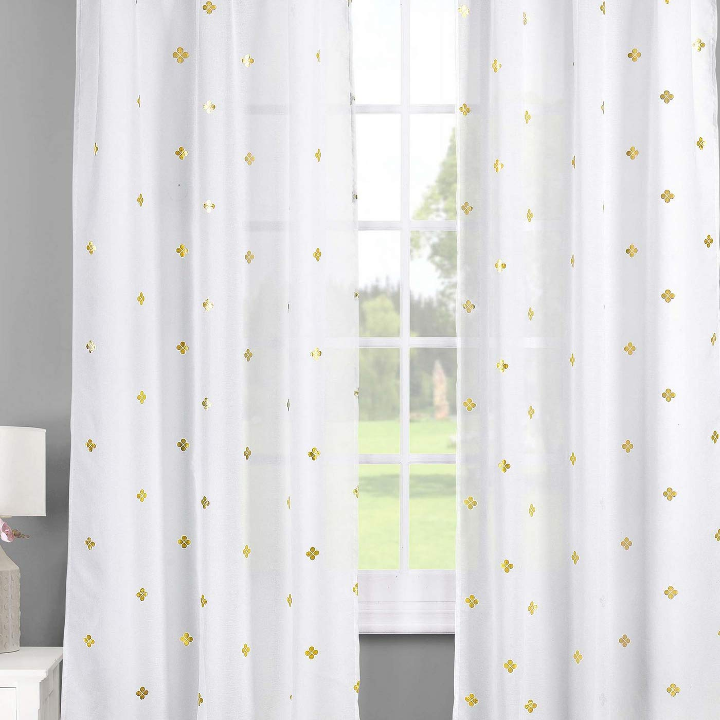 Livingroom Nursery-Assorted Colors-Set of 2 Panels 38 x 84 Inch Children Bash Becca Metallic Clover Pole Top Window Curtain Drapes for Bedroom Kids Room Lala White /& Gold