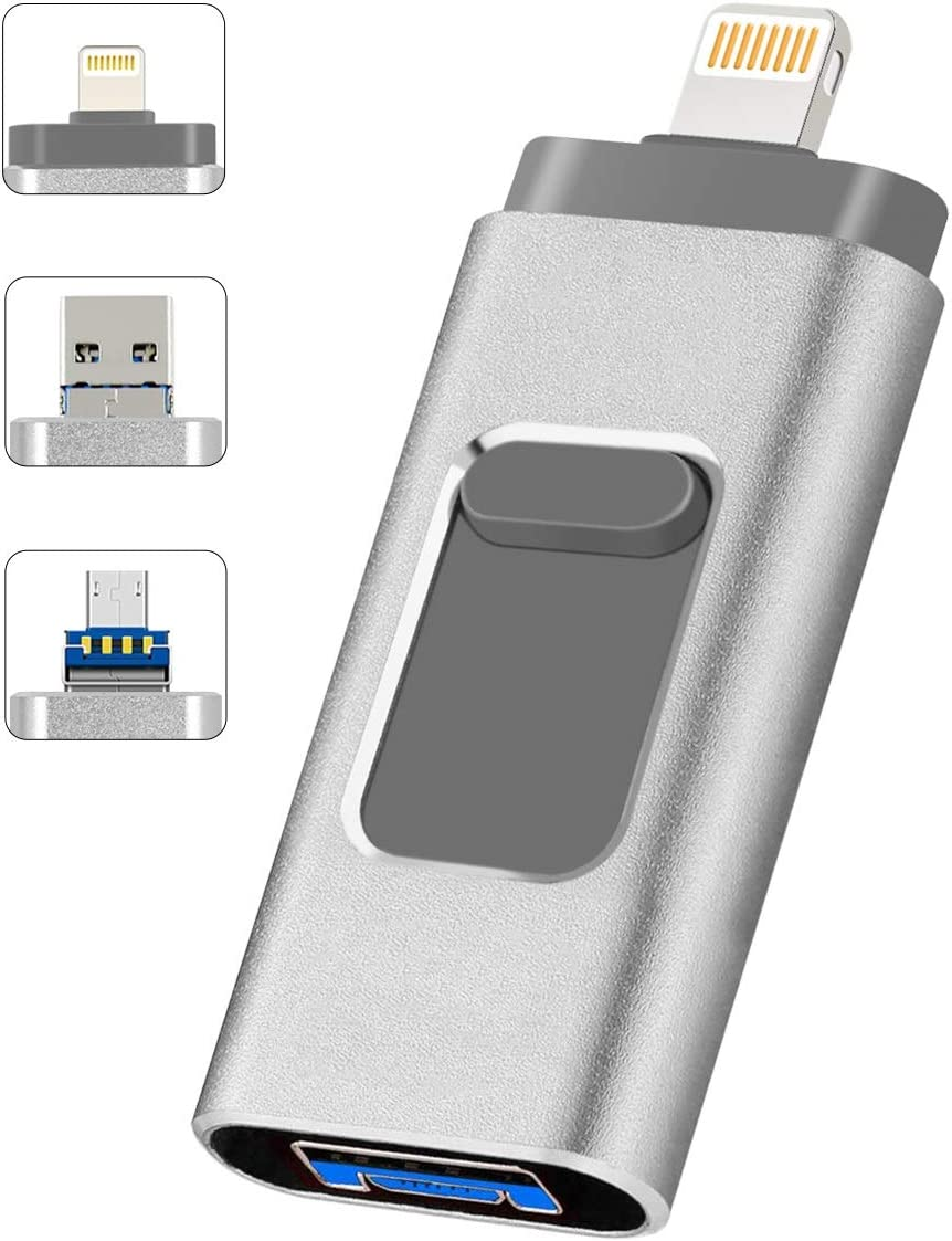 128GB USB 3.0 Flash Drive for iPhone & Micro Android Phone & Computer, 3-in-1 Album Saver Photo Stick, 128 OTG USB Memory Stick for iPad, Lightning Thumb Drive for MacBook Laptop