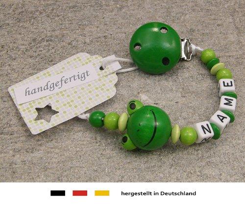 Baby SCHNULLERKETTE mit NAMEN M/ädchen /& Jungen Motiv Frosch in gr/ün Schnullerhalter mit Wunschnamen