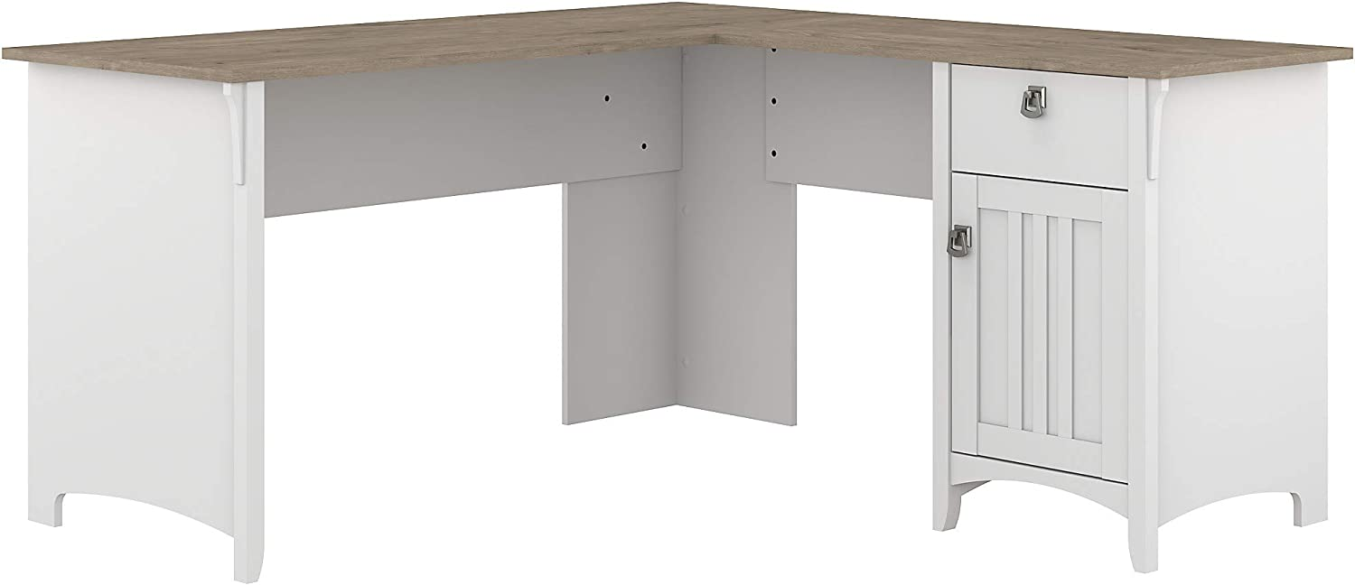 Bush Furniture Salinas L Shaped Desk with Storage, 60W, Pure White and Shiplap Gray