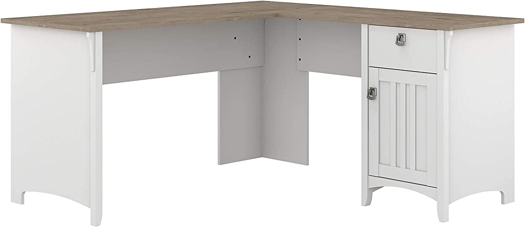 Bush Furniture Salinas L Shaped Desk With Storage 60w Pure White And Shiplap Gray Furniture Decor
