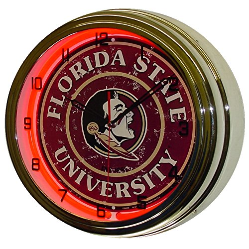 Florida State University Logo Sign Neon Lighted Wall Clock Chrome Red ()